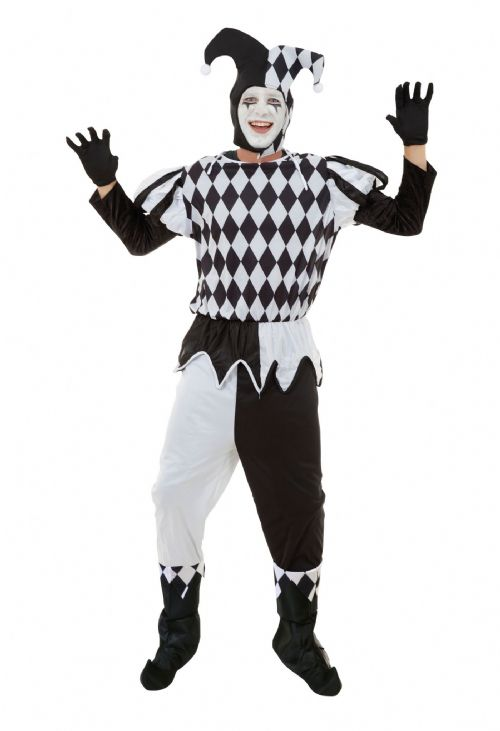Mens Harlequin Male Costume Medieval jester Clown Fancy Dress Outfit